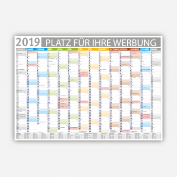 personalisierbarer Wandkalender 2019 farbig