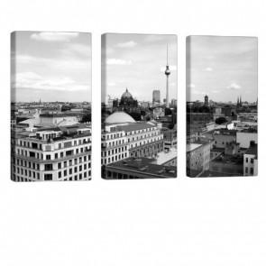 Grey Berlin Leinwand Druck 3x 40x80cm