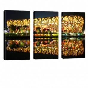 Beijing Stadium Leinwandbild 3x 40x80cm