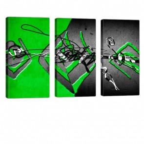 Interleaved Green Leinwanddruck 3x 40x80cm