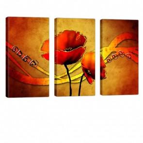 Art of Flowers Leinwandbild 3x 40x80cm