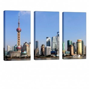 Great Shanghai Leinwand Druck 3x 40x80cm