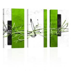 Green Square LEINWANDDRUCK 3x 60x120cm Abstrakt Bild auf Keilrahmen