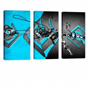 Interleaved Blue Bild auf Leinwand 3x 40x80cm