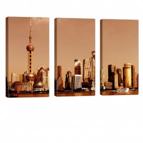 Shanghai Sun Leinwandbild 3x 40x80cm
