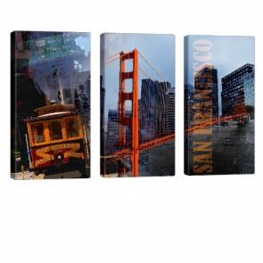 San Francisco Act Bild auf Leinwand 3x 40x80cm
