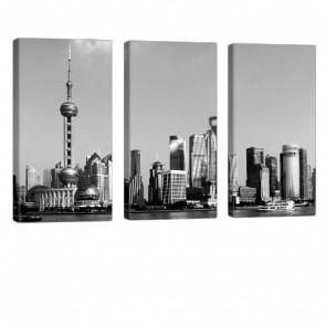 Grey Shanghai Leinwandbild 3x 40x80cm