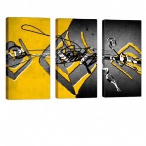 Interleaved Yellow Leinwand Druck 3x 40x80cm