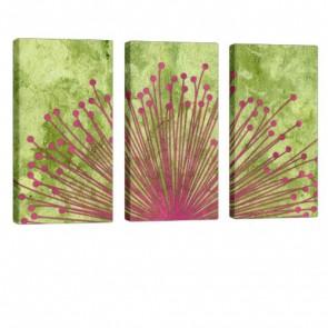 Floral World Leinwand Bild 3x 40x80cm